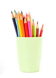 Colorful pencils in a cup Stock Photos