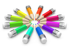 The colorful pencils. 3d generated picture of some colorful pencils royalty free illustration