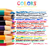 Colorful pencils and doodles. Macro of color pencils, stacked focus, with colorful doodles Stock Images