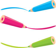 Colorful pencils drawing line Royalty Free Stock Photography