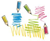 Colorful pencils drawing line Royalty Free Stock Photo