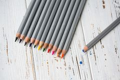 Colorful pencils for drawing. Pencils for art stock photo