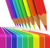 Colorful pencils drawing rainbow Royalty Free Stock Photography