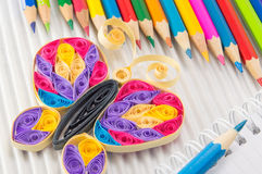 Colorful pencils with drawing and writing equipment royalty free stock images