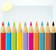 Colorful pencils and elastic Stock Photo