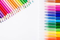 Colorful pencils and felt-tip pens for drawing. Pencils and markers of different colors Stock Images