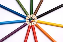 Colorful pencils forming a circle Stock Photography