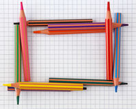 Colorful pencils frame Royalty Free Stock Photos