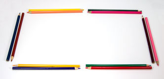 Colorful Pencils Frame as a Rectangle Stock Image