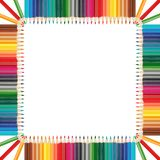 Colorful pencils frame in square shape arrangement Stock Images