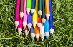 Colorful pencils on the grass Royalty Free Stock Photo