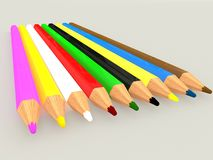 Colorful pencils,  on grey background. 3D rendering. Royalty Free Stock Photography