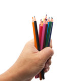 Colorful pencils in hand Stock Photography