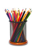 Colorful pencils in holder Stock Photos