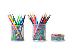 Colorful pencils in holder. Isolated on white background Royalty Free Stock Photo