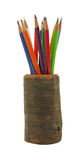 Colorful Pencils in Hollow Log Royalty Free Stock Photos
