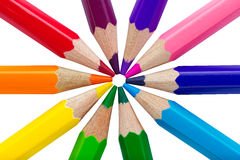 Colorful pencils isolated over white Stock Images