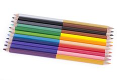 Colorful pencils isolated on white background. Horizontal Royalty Free Stock Photo