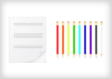 Colorful pencils with lined sheet of paper Stock Photos
