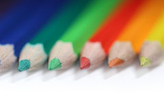 Colorful pencils, low DOF. A number of colorful pencils isolated on white with low DOF Royalty Free Stock Image
