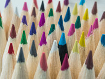 Colorful pencils macro. Colorful pencils, Individuality, Standing Out From The Crowd, Contrasts, Leadership, Concepts stock images