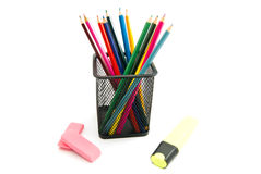 Colorful pencils, marker and erasers Royalty Free Stock Photos