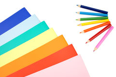 Colorful pencils and notes Stock Photo