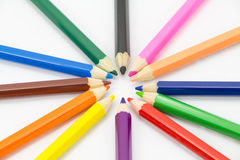 Colorful pencils in pail royalty free stock images