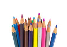 Colorful pencils in pail stock photography