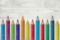 Colorful Pencils Painted Over Whitewashed Boards Royalty Free Stock Photography