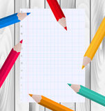 Colorful Pencils with Paper Sheet Stock Images