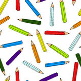 Colorful pencils pattern. Seamless texture with pencil.  Doodle Stock Photography