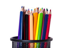 Colorful pencils in a pen holder stock photo
