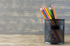 Colorful pencils in the pen pot Stock Images
