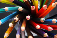 Colorful pencils in a pencil box.  Royalty Free Stock Images