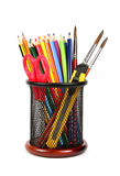Colorful pencils in pencil cup isolated Royalty Free Stock Photo