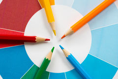 Colorful pencils with pie chart 3. Five colorful pencils with colored pie chart Royalty Free Stock Image