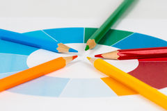 Colorful pencils with pie chart 1. Five colorful pencils with colored pie chart Royalty Free Stock Images