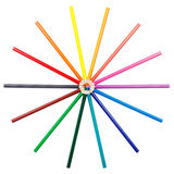 Colorful pencils in radial arrangement Royalty Free Stock Photography
