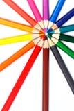 Colorful pencils in radial arrangement Stock Photos