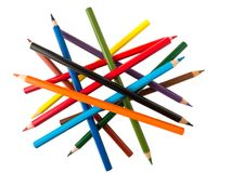 Colorful pencils in random positions Stock Photo