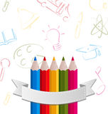 Colorful pencils with ribbon, on pictogram  backgr Stock Images