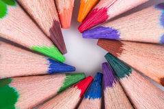 Colorful Pencils with Round Shape Stock Photography