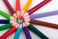 Colorful Pencils with Round Shape Stock Photos
