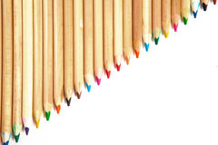 Colorful Pencils in a Row. Colouring Pencils Lined on White Isolated Background Stock Image