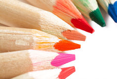 Colorful Pencils in a Row. Colouring Pencils Lined on White Isolated Background Stock Photos