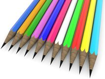 Colorful pencils in row. In backgrounds vector illustration