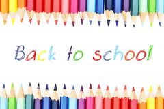 Colorful pencils in row with colorful text for school Royalty Free Stock Image