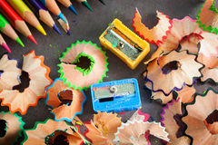 Colorful pencils and rubbish Royalty Free Stock Image