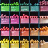 Colorful pencils for sale at shop royalty free stock photos